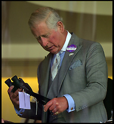 Image ©Licensed to i-Images Picture Agency. 18/06/2014. Ascot, United Kingdom. Prince Charles has problems with his  Binoculars in the Royal Box on Day 2 of Royal Ascot at Ascot Racecourse. Picture by Andrew Parsons / i-Images