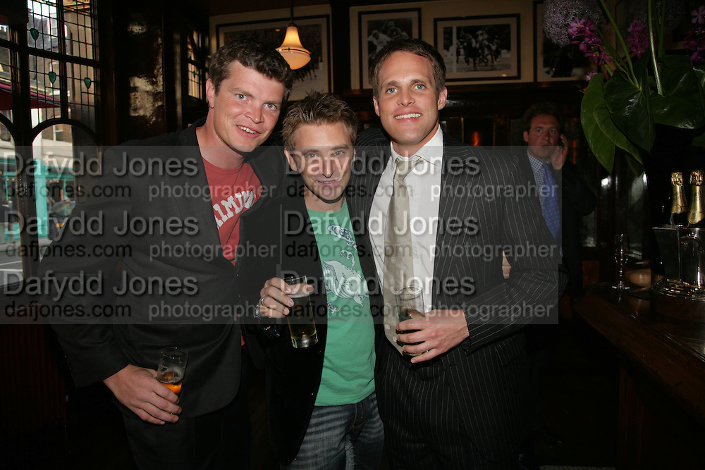 Jack Kidd, Dan Stein and Jamie Morrison, PJ's Annual Polo Party . Annual Pre-Polo party that celebrates the start of the 2007 Polo season.  PJ's Bar &amp; Grill, 52 Fulham Road, London, SW3. 14 May 2007. <br /> -DO NOT ARCHIVE-&copy; Copyright Photograph by Dafydd Jones. 248 Clapham Rd. London SW9 0PZ. Tel 0207 820 0771. www.dafjones.com.