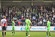 FGR supporters during the EFL Sky Bet League 2 match between Cheltenham Town and Forest Green Rovers at LCI Rail Stadium, Cheltenham, England on 14 April 2018. Picture by Shane Healey.