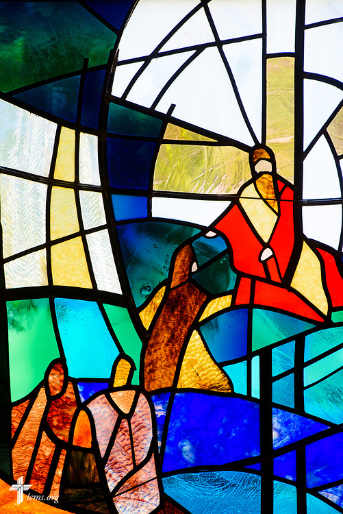 Stained glass depicting Jesus Christ at Lutheran Church of St. John, Quincy, Ill., on Sunday, June 11, 2017. LCMS Communications/Erik M. Lunsford