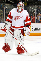 March 3, 2011; San Jose, CA, USA;  Detroit Red Wings goalie Jimmy Howard (35) warms up before the game against the San Jose Sharks at HP Pavilion.  San Jose defeated Detroit 3-1. Mandatory Credit: Jason O. Watson / US PRESSWIRE
