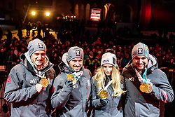 27.02.2018, Salzburg, AUT, PyeongChang 2018, ÖOC Medaillenfeier, im Bild v.l.: Matthias Mayer, Marcel Hirscher, Anna Gasser, David Gleirscher // during a ÖOC medal celebration Party after the Olympic Winter Games Pyeongchang 2018 in Salzburg, Austria on 2018/02/27. EXPA Pictures © 2018, PhotoCredit: EXPA/ JFK