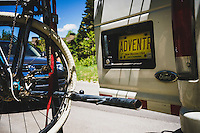 Great White the adventure van and a sad flat tire, Wasatch Range, Utah.