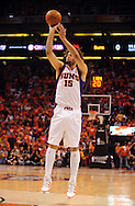 May 23, 2010; Phoenix, AZ, USA; Phoenix Suns center Robin Lopez (15) puts up a shot during the first quarter in game three of the western conference finals in the 2010 NBA Playoffs at US Airways Center.  The Suns defeated the Lakers 118-109.   Mandatory Credit: Jennifer Stewart-US PRESSWIRE