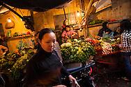 Local market in a street of Hanoi, Vietnam, Southeast Asia
