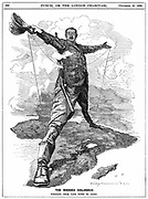 Cecil John Rhodes (1852-1902) English-born South African statesman. The Rhodes Colossus striding from Cape Town to Cairo with a telegraph wire. Richard Linley Sambourne cartoon from 'Punch', London, 10 December 1892. Engraving