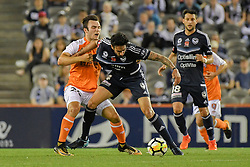 November 11, 2017 - Melbourne, Victoria, Australia - RHYS WILLIAMS (4) of the Victory and NICK D'AGOSTINO (26) of Brisbane fight for the ball in the round six match of the A-League between Melbourne Victory and Brisbane Roar at Etihad Stadium, Melbourne, Australia. Melbourne drew 1-1 (Credit Image: © Sydney Low via ZUMA Wire)