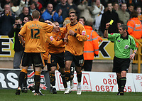 Photo: Rich Eaton.<br /> <br /> Wolverhampton Wanderers v West Bromwich Albion. Coca Cola Championship. 11/03/2007. Jay Bothroyd #10 celebrates scoring the only goal of the game but receives a yellow card for his celebrations