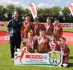 Curraghboy NS Roscommon finalists in the SPAR FAI Primary Schools 5&rsquo;s Connacht finals, pictured at Solar Park Mayo with their medals. <br />