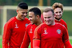 Memphis Depay of Manchester United in good spirits during training - Mandatory byline: Matt McNulty/JMP - 07966386802 - 20/10/2015 - FOOTBALL - Aon Training Complex -Manchester,England - UEFA Champions League