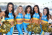 Sep 8, 2019; Carson, CA, USA; Los Angeles Chargers girls cheerleaders pose during the game against the Indianapolis Colts at Dignity Health Sports Park.