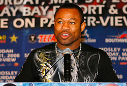 "March 25, 2008; New York, NY, USA;  ""Sugar"" Shane Mosley speaks at the press conference announcing his May 31, 2008 welterweight fight against Zab Judah.  The two will meet at Mandalay Bay in Las Vegas, NV."