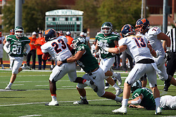 01 October 2016:  Sean Garvey stops Sola Olateju during an NCAA division 3 football game between the Wheaton Thunder and the Illinois Wesleyan Titans in Tucci Stadium on Wilder Field, Bloomington IL (Photo by Alan Look)