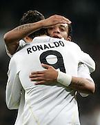 Real Madrid's Cristiano Ronaldo celebrates with Marcelo during La Liga match, November 05, 2009.