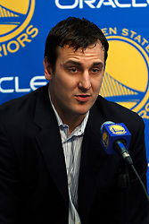 Mar 16, 2012; Oakland, CA, USA; Golden State Warriors center Andrew Bogut talks during an introductory press conference before the game against the Milwaukee Bucks at Oracle Arena. Mandatory Credit: Jason O. Watson-US PRESSWIRE