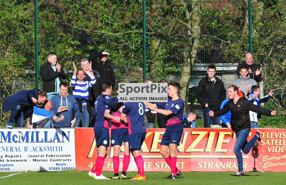Greenock Glory as Morton's Declan McManus celebrates his opening goal at Stranraer joined by team mates and fans....(c) BILLY WHITE | SportPix.org.uk