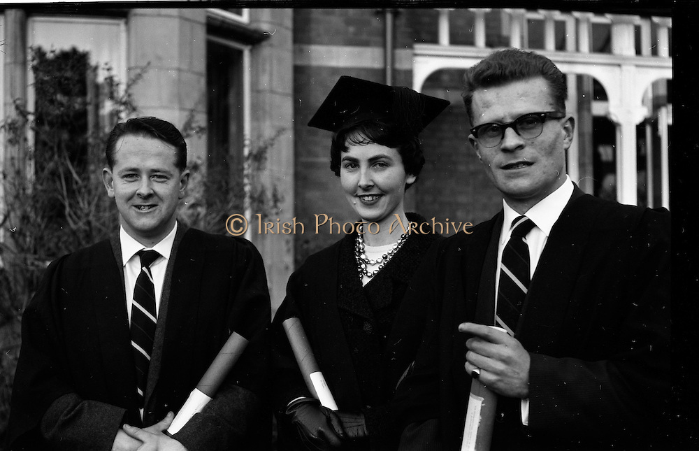 05/12/1961<br /> 12/05/1961<br /> 05 December 1961<br /> Conferring Day at the Pharmaceutical Society of Ireland, 18 Shrewsbury Road Dublin. Picture shows three of the graduates.