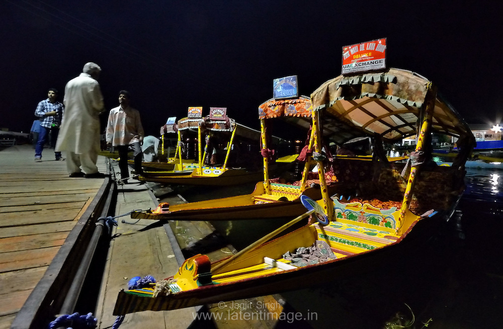 Shikara during late night waiting for tourists in Dal Lake, Srinagar, India.