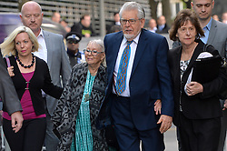 (l-r) Bindi Harris (Rolf's daughter), Alwen Hughes (rolf's wife),Rolf Harris and unknown (far right) arrive at  Southwark Crown Court, London, UK.<br /> <br /> Tuesday, 6th May 2014. Picture by Ben Stevens / i-Images