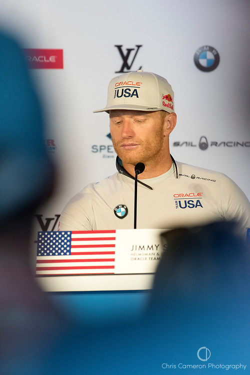 The America's Cup Village, Ireland Island, Bermuda, 17th June. Oracle Team USA helmsman Jimmy Spithill in the post race press conference after losing the first two races of the America's Cup to Emirates Team New Zealand.
