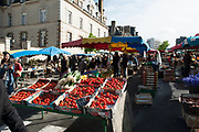 """Rennes, FRANCE. General View GV. Rennes weekly regional market. Brittany,<br /> <br /> """"Selling Tomatos and Spring Onions"""", sold from stalls in the open and covered market  <br /> <br /> Saturday  26/04/2014 <br /> <br /> © Peter SPURRIER, <br /> <br /> NIKON CORPORATION  NIKON D700  f4.5  1/1250sec  24mm  7.1MB"""