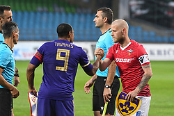 Marcos Magno Morales Tavares of Maribor and Haukur Pall Sigurdsson of Valur before 2nd Leg Football match between NK Maribor (SLO) and Valur Reykjavík (ISL) in First qualifying round of UEFA Champions League 2019/20, on July 17, 2019, in Stadium Ljudski vrt, Maribor, Slovenia. Photo by Milos Vujinovic / Sportida