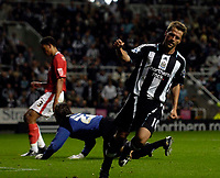 Photo: Jed Wee/Sportsbeat Images.<br /> Newcastle United v Barnsley. Carling Cup. 29/08/2007.<br /> <br /> Newcastle's Michael Owen celebrates after opening the scoring.