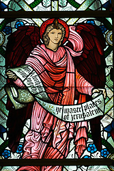 Detail of stained glass window at St Mungo Museum of Religion in Glasgow Scotland 2006