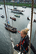 Amsterdam, Netherlands, August 19, 2015.  The view from the mast of Tallship Thalassa, a Dutch Barqentine form Harlingen. Hundreds of ships join the Tallships on their way from Ijmuiden to their destination Amsterdam, for the Sail Amsterdam 2015. Photo by Frits Meyst / Meystphoto.com