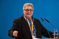 09 DEC 2014, KOELN/GERMANY:<br /> Elke Hannack, Stellv. Vorsitzende des Deutsche Gewerkschaftsbundes, DGB, haelt eine Rede, CDU Bundesparteitag, Messe Koeln<br /> IMAGE: 20141209-01-164<br /> KEYWORDS: Party Congress