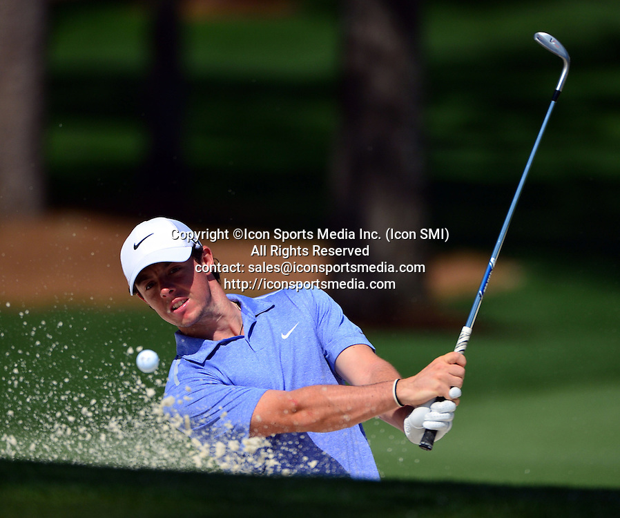 April 9, 2013 - Augusta, Georgia, U.S. - RORY MCILROY hits out of the sand on No. 7 during the second practice round of the 2013 Masters Tournament at Augusta National Golf Club