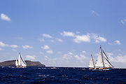 Cruinneag III and Saphaedra sailing in the Antigua Classic Yacht Regatta, Windward Race.