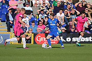 AFC Wimbledon midfielder Jake Reeves (8) dribbling in the centre of the pitch during the EFL Sky Bet League 1 match between AFC Wimbledon and Southend United at the Cherry Red Records Stadium, Kingston, England on 25 March 2017. Photo by Matthew Redman.