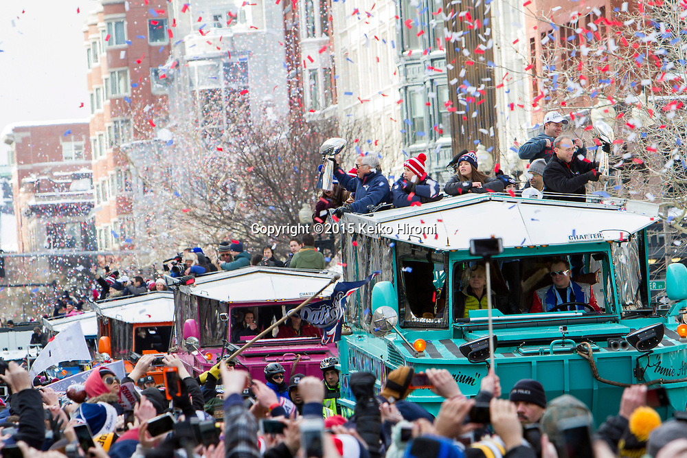 February 4, 2015 Boston, MA USA:  New England Patriots Victory parade in Boston Wednesday, Feb. 4, 2015, to honor the Patriots' victory over the Seattle Seahawks in Super Bowl XLIX Sunday in Glendale, Arizona.