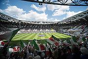 Foto Daniele Montigiani / LaPresse<br /> 18 05 2014 Torino (Italia)<br /> Sport Calcio<br /> Juventus - Cagliari<br /> Campionato italiano di calcio Serie A Tim 2013 2014<br /> Nella foto: Coreografia Stadio<br /> <br /> Photo Daniele Montigiani / LaPresse<br /> 18 05 2014 Torino (Italy)<br /> Sport Soccer<br /> Juventus - Cagliari<br /> Italian Football Championship League A Tim 2013 2014<br /> In the picture: choreography Stadium