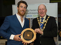 Repro FREE:   Richard McCurry, Newbie Chinese, Runner Up, Best New Idea Galway, IBYE 2016 presented by  Cllr Noel Larkin Mayor of Galway City awarded by Local Enterprise Office Galway at the Portershed. <br /> Photo:Andrew Downes, xposure