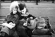 Chigwell Punk Girls on a Bench, Chigwell, London, UK, 1980s.