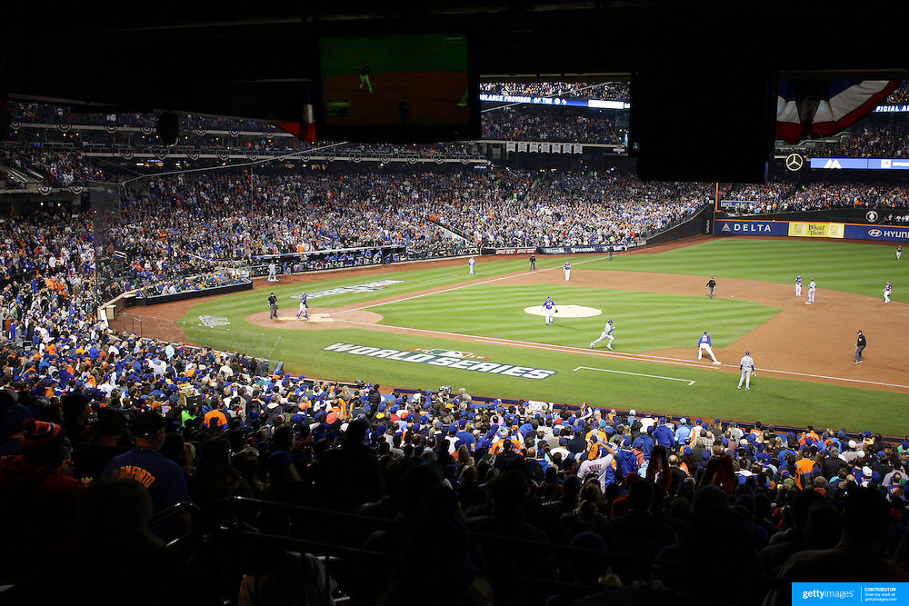 Pitcher Matt Harvey, watches an out play while pitching during the New York Mets Vs Kansas City Royals, Game 5 of the MLB World Series at Citi Field, Queens, New York. USA. 1st November 2015. Photo Tim Clayton