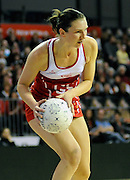 Rachel Dunn with ball in hand, during New World Netball Series, New Zealand Silver Ferns v England at The ILT Velodrome, Invercargill, New Zealand. Thursday 6 October 2011 . Photo: Richard Hood photosport.co.nz