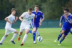 Luka Zahovic and Jan Andrejasic  of Slovenia vs Andreu Matos Munoz and Victor Calvino of Andorra during football game between Slovenia and Andorra of UEFA Under19 Championship Qualifications, on October 15, 2013 in Bakovci, Slovenia. (Photo by Erik Kavas / Sportida)