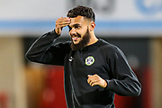 Forest Green Rovers Dominic Bernard(3) warming up during the EFL Sky Bet League 2 match between Morecambe and Forest Green Rovers at the Globe Arena, Morecambe, England on 22 October 2019.