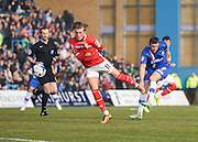 Gillingham midfielder Doug Loft takes a shot at goal during the Sky Bet League 1 match between Gillingham and Crewe Alexandra at the MEMS Priestfield Stadium, Gillingham, England on 12 March 2016. Photo by David Charbit.