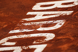 April 26, 2018 - Barcelona, Barcelona, Spain - 26th April 2018. Barcelona, Spain; Banc Sabadell Barcelona Open Tennis tournament; Logo of Barcelona in the central court of the Godo open (Credit Image: © Eric Alonso via ZUMA Wire)