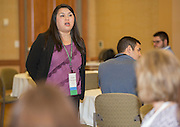 Charee Thompson, an assistant professor in the School of Communication Studies, leads a breakout session during the College of Business Center for Leadership Event on April 23, 2016.