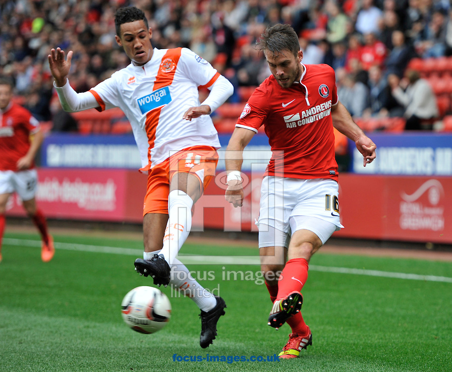 Picture by Alan Stanford/Focus Images Ltd +44 7915 056117<br /> 05/10/2013<br /> Rhoys Wiggins of Charlton Athletic and Tom Ince of Blackpool during the Sky Bet Championship match at The Valley, London.