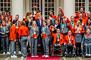 THE HAGUE - A group photo with kjeld nuis  King Willem-Alexander, Queen Máxima and Princess Margriet and the athletes at Noordeinde Palace for an encounter with King Willem-Alexander, Queen Máxima and Princess Margriet. ROBIN UTRECHT
