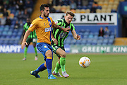 batt;e of the 8's Jake Reeves of AFC Wimbledon and Chris Clements the Sky Bet League 2 match between Mansfield Town and AFC Wimbledon at the One Call Stadium, Mansfield, England on 5 September 2015. Photo by Stuart Butcher.