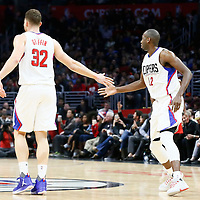 12 December 2016: LA Clippers forward Blake Griffin (32) congratulates LA Clippers forward Luc Mbah a Moute (12) during the LA Clippers 121-120 victory over the Portland Trail Blazers, at the Staples Center, Los Angeles, California, USA.