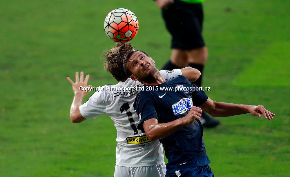 Auckland's Mario Bilen up against Wellington's Andy Bevin. ASB Premiership, Round Four, Auckland City FC v Team Wellington, QBE Stadium Auckland, Thursday 28th January 2016. Copyright Photo: Shane Wenzlick