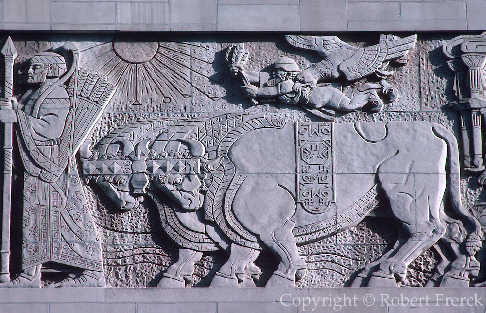 CHICAGO, ARCHITECTURE DETAILS Babylonian Frieze on the facade of the Radisson Hotel located on North Michigan  Avenue
